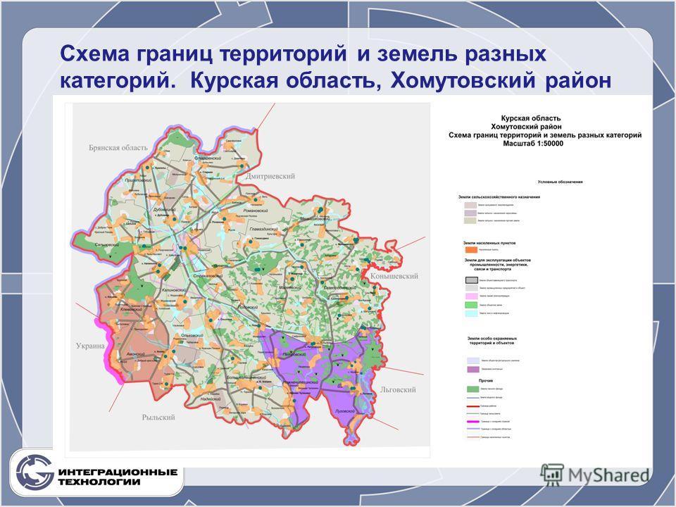 Схема границ территорий и земель разных категорий. Курская область, Хомутовский район