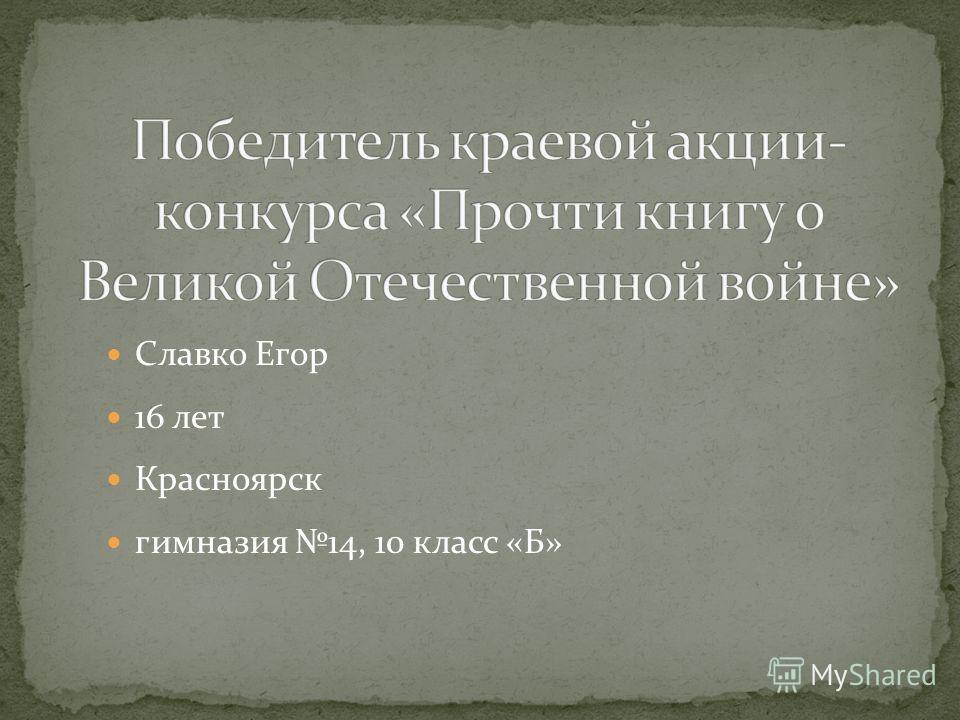 Славко Егор 16 лет Красноярск гимназия 14, 10 класс «Б»