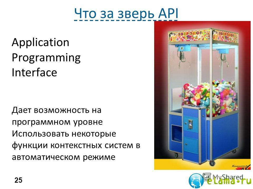 Что за зверь API 25 Application Programming Interface Дает возможность на программном уровне Использовать некоторые функции контекстных систем в автоматическом режиме