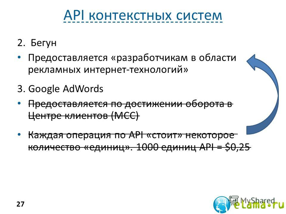 API контекстных систем 2. Бегун Предоставляется «разработчикам в области рекламных интернет-технологий» 3. Google AdWords Предоставляется по достижении оборота в Центре клиентов (MCC) Каждая операция по API «стоит» некоторое количество «единиц». 1000