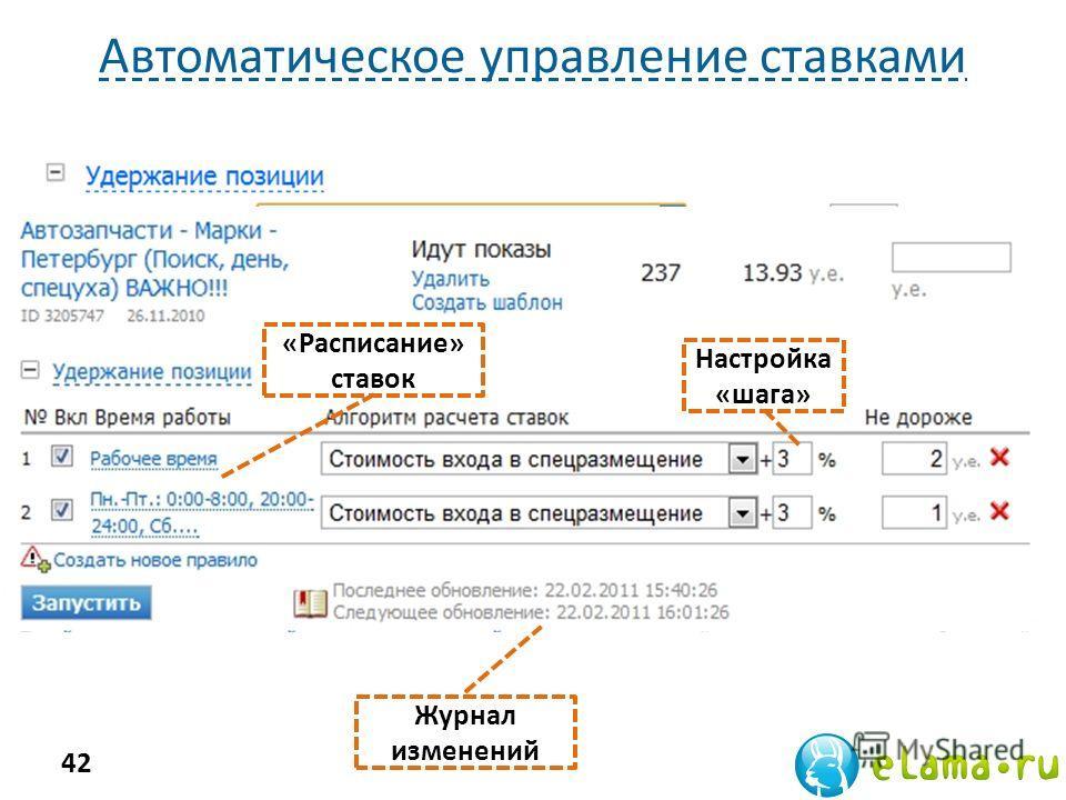 Автоматическое управление ставками 42 Настройка «шага» «Расписание» ставок Журнал изменений