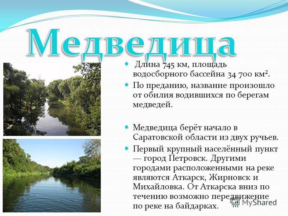 Длина 745 км, площадь водосборного бассейна 34 700 км². По преданию, название произошло от обилия водившихся по берегам медведей. Медведица берёт начало в Саратовской области из двух ручьев. Первый крупный населённый пункт город Петровск. Другими гор