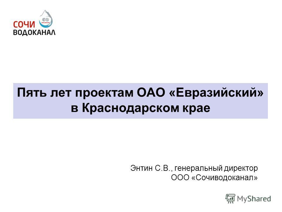 Пять лет проектам ОАО «Евразийский» в Краснодарском крае Энтин С.В., генеральный директор ООО «Сочиводоканал»