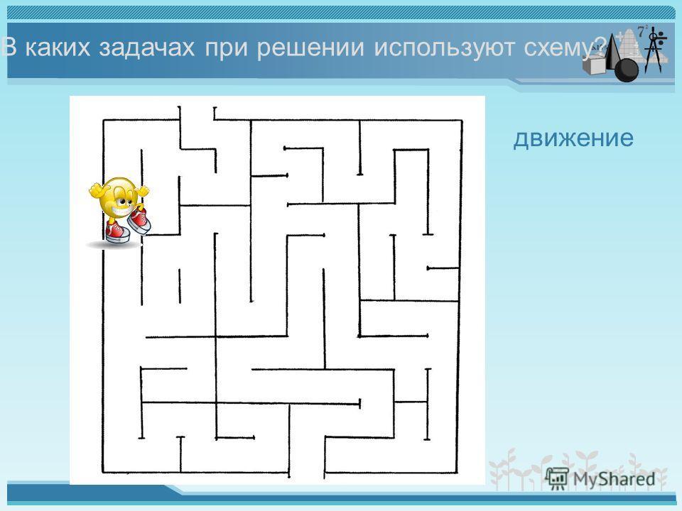 В каких задачах при решении используют схему? движение