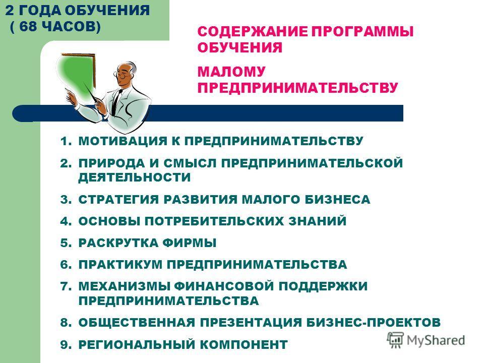 2 ГОДА ОБУЧЕНИЯ ( 68 ЧАСОВ) СОДЕРЖАНИЕ ПРОГРАММЫ ОБУЧЕНИЯ МАЛОМУ ПРЕДПРИНИМАТЕЛЬСТВУ 1.МОТИВАЦИЯ К ПРЕДПРИНИМАТЕЛЬСТВУ 2.ПРИРОДА И СМЫСЛ ПРЕДПРИНИМАТЕЛЬСКОЙ ДЕЯТЕЛЬНОСТИ 3.СТРАТЕГИЯ РАЗВИТИЯ МАЛОГО БИЗНЕСА 4.ОСНОВЫ ПОТРЕБИТЕЛЬСКИХ ЗНАНИЙ 5.РАСКРУТКА