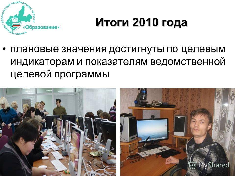 Итоги 2010 года плановые значения достигнуты по целевым индикаторам и показателям ведомственной целевой программы