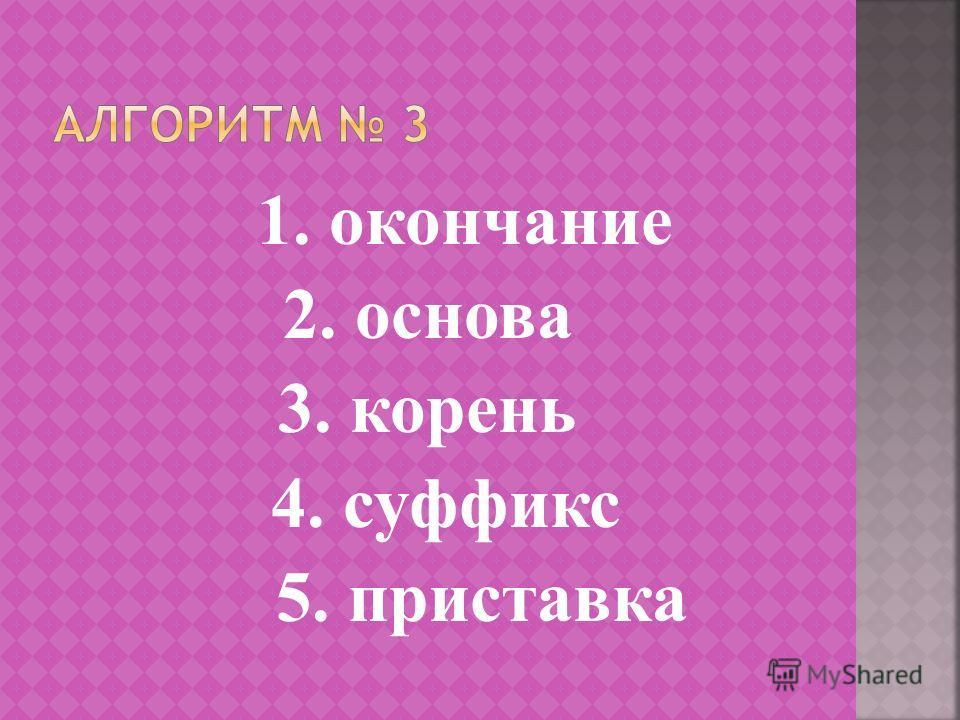 1. окончание 2. основа 3. корень 4. суффикс 5. приставка