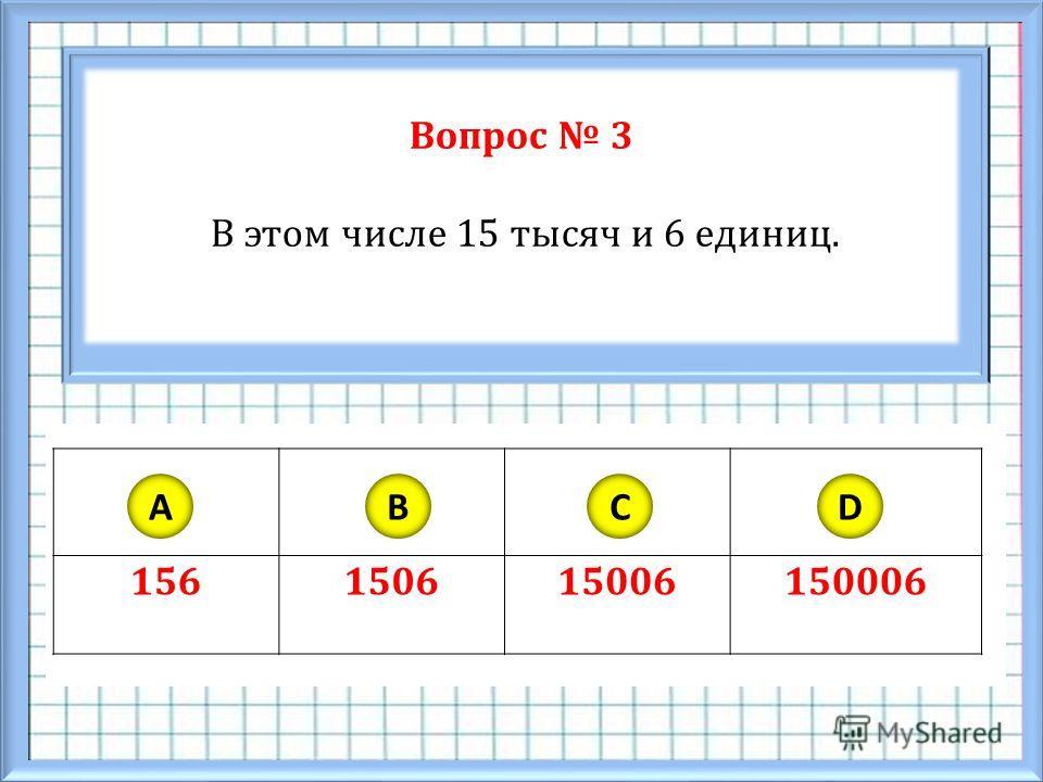 Вопрос 3 В этом числе 15 тысяч и 6 единиц. 156150615006150006 ABCD