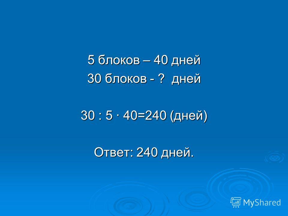 5 блоков – 40 дней 30 блоков - ? дней 30 : 5 · 40=240 (дней) Ответ: 240 дней.
