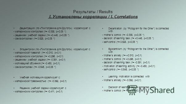 Результаты / Results I. Установлены корреляции / I. Correlations Децентрация (по «Пиктограмме для Другого») коррелирует с: - материнским контролем (τ= -0.338, р