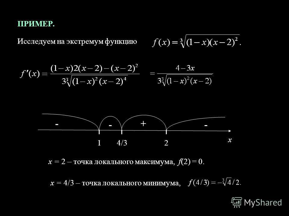 ПРИМЕР. Исследуем на экстремум функцию 124/3 х + - - x = 2 – точка локального максимума, f(2) = 0. x = 4/3 – точка локального минимума, -