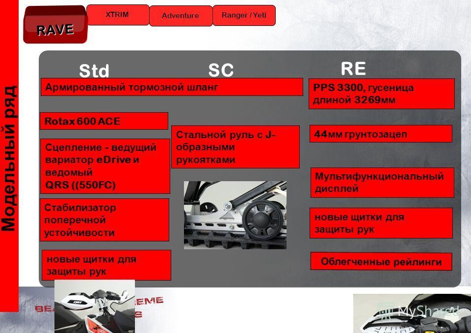13 Модельный ряд XTRIM Ranger / Yeti Adventure RAVE Std SC RE Rotax 600 ACE новые щитки для защиты рук Сцепление - ведущий вариатор eDrive и ведомый QRS ((550FC) Армированный тормозной шланг Стабилизатор поперечной устойчивости Стальной руль с J- обр