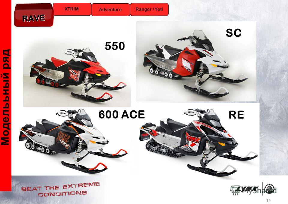 14 Моделььный ряд XTRIM Ranger / Yeti Adventure RAVE RE SC 550 600 ACE