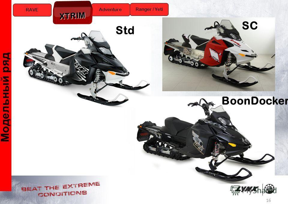16 Модельный ряд RAVE Ranger / Yeti Adventure XTRIM Std SC BoonDocker