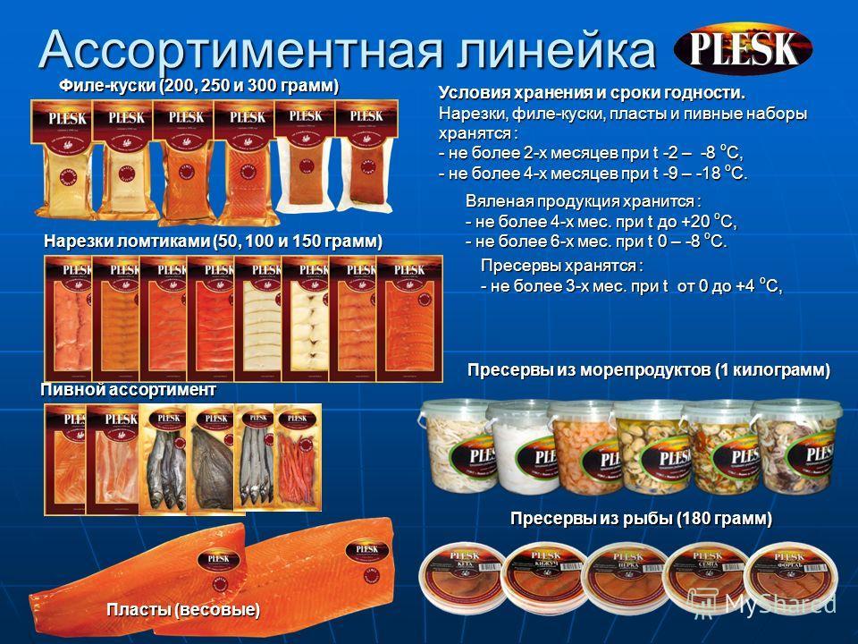 Ассортиментная линейка Нарезки ломтиками (50, 100 и 150 грамм) Филе-куски (200, 250 и 300 грамм) Пивной ассортимент Пласты (весовые) Условия хранения и сроки годности. Нарезки, филе-куски, пласты и пивные наборы хранятся : - не более 2-х месяцев при