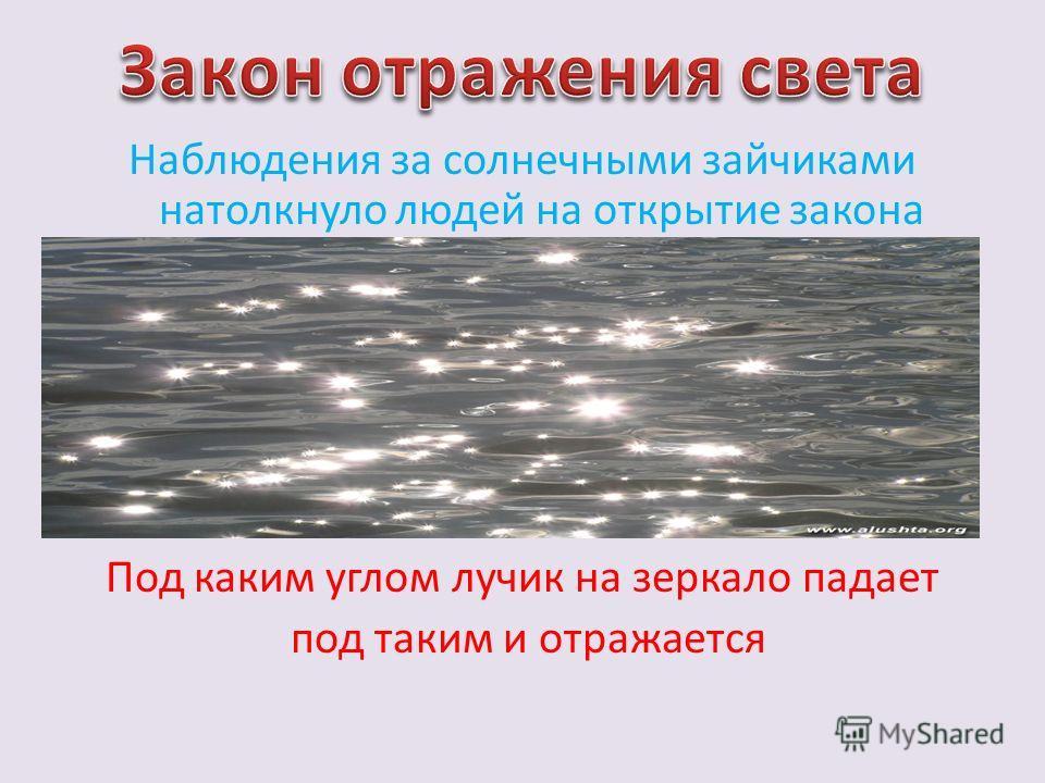 Наблюдения за солнечными зайчиками натолкнуло людей на открытие закона Под каким углом лучик на зеркало падает под таким и отражается