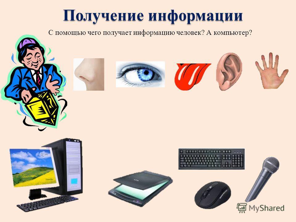Получение информации С помощью чего получает информацию человек? А компьютер?