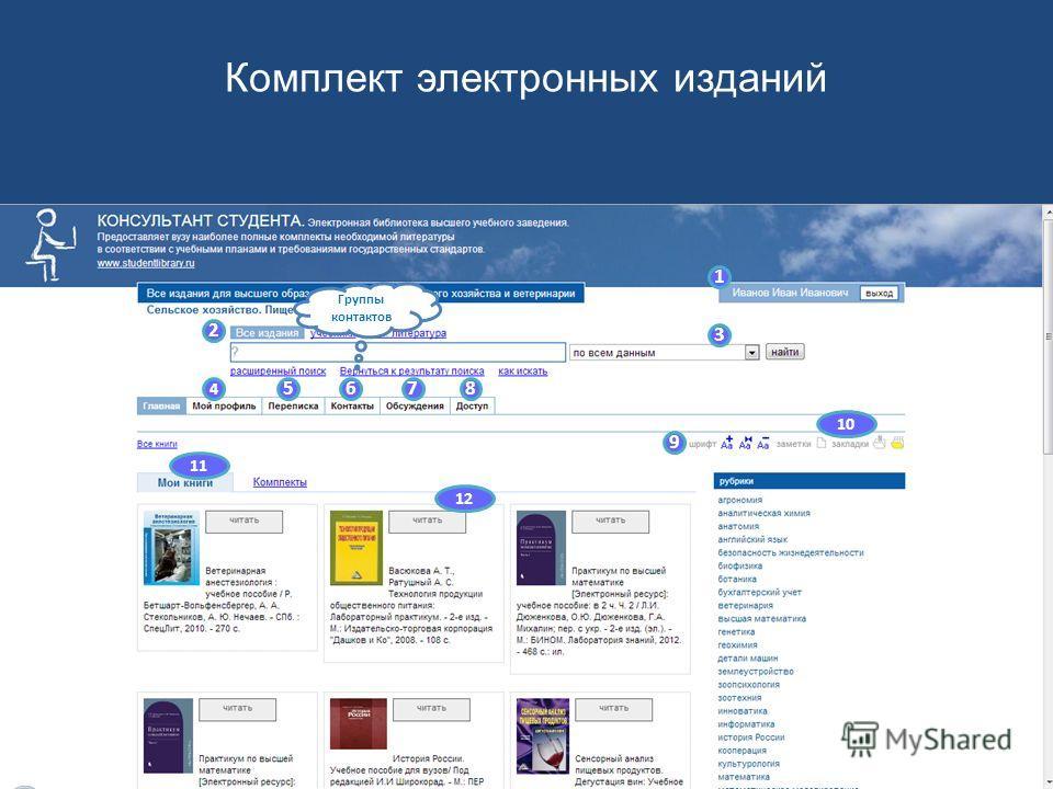 1 2 3 4 5678 9 10 11 12 Система личных сообщений Комплект электронных изданий