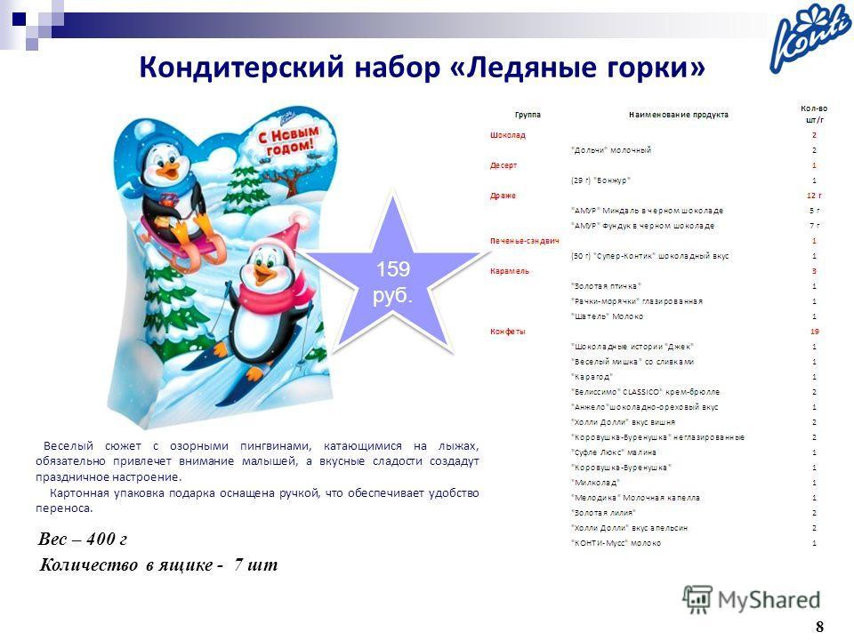 8 Вес – 400 г Количество в ящике - 7 шт Веселый сюжет с озорными пингвинами, катающимися на лыжах, обязательно привлечет внимание малышей, а вкусные сладости создадут праздничное настроение. Картонная упаковка подарка оснащена ручкой, что обеспечивае