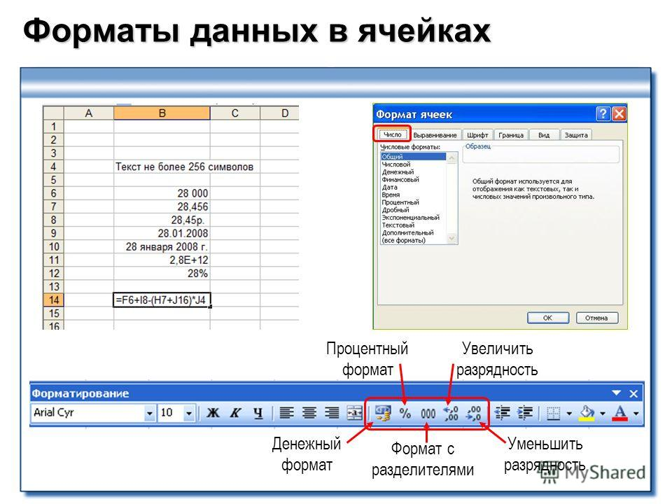 Форматы данных в ячейках Денежный формат Процентный формат Формат с разделителями Увеличить разрядность Уменьшить разрядность