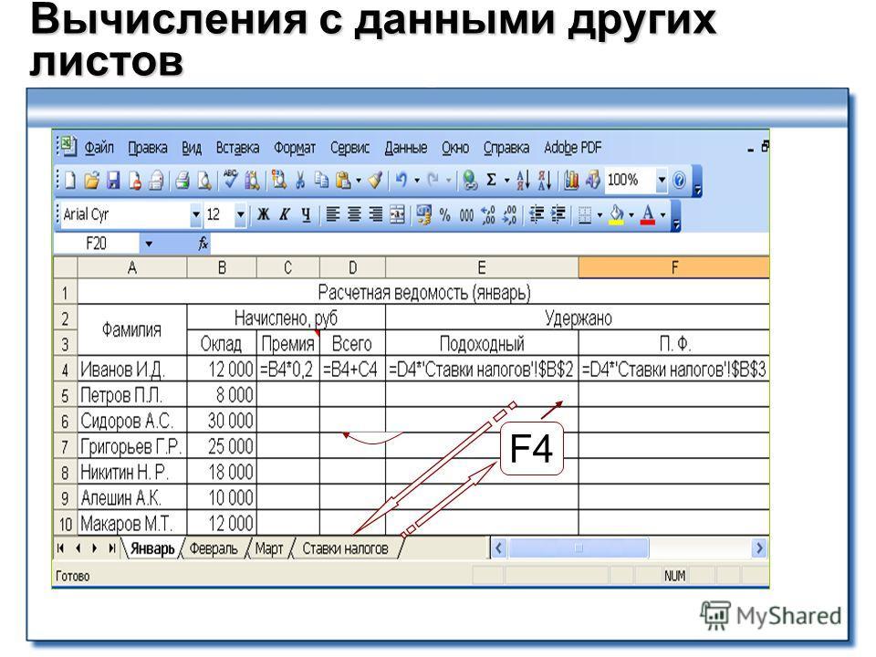 Вычисления с данными других листов F4