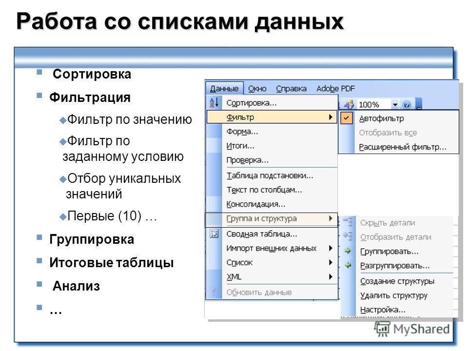 Работа со списками данных Сортировка Фильтрация Фильтр по значению Фильтр по заданному условию Отбор уникальных значений Первые (10) … Группировка Итоговые таблицы Анализ …