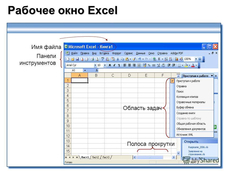 Рабочее окно Excel Панели инструментов Полоса прокрутки Область задач Имя файла