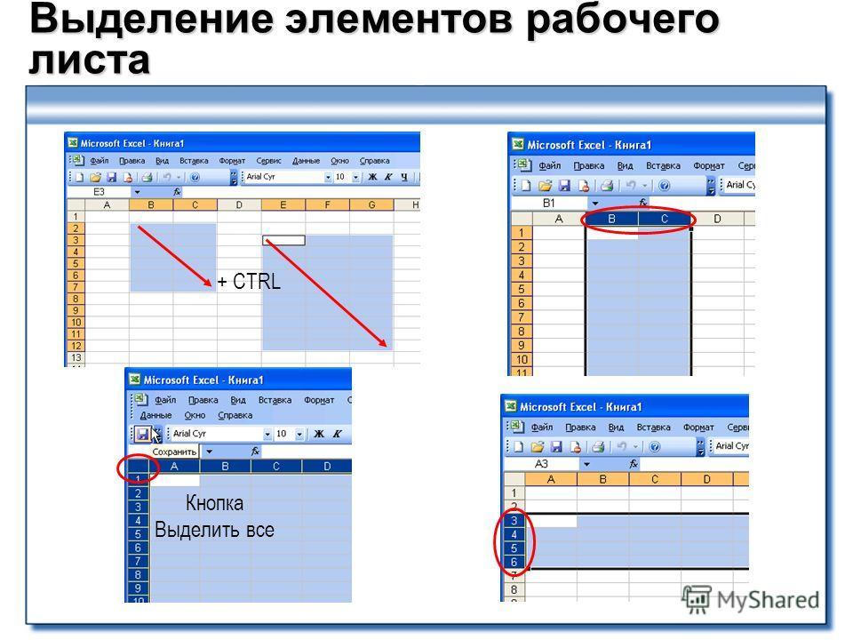 Выделение элементов рабочего листа Кнопка Выделить все + CTRL