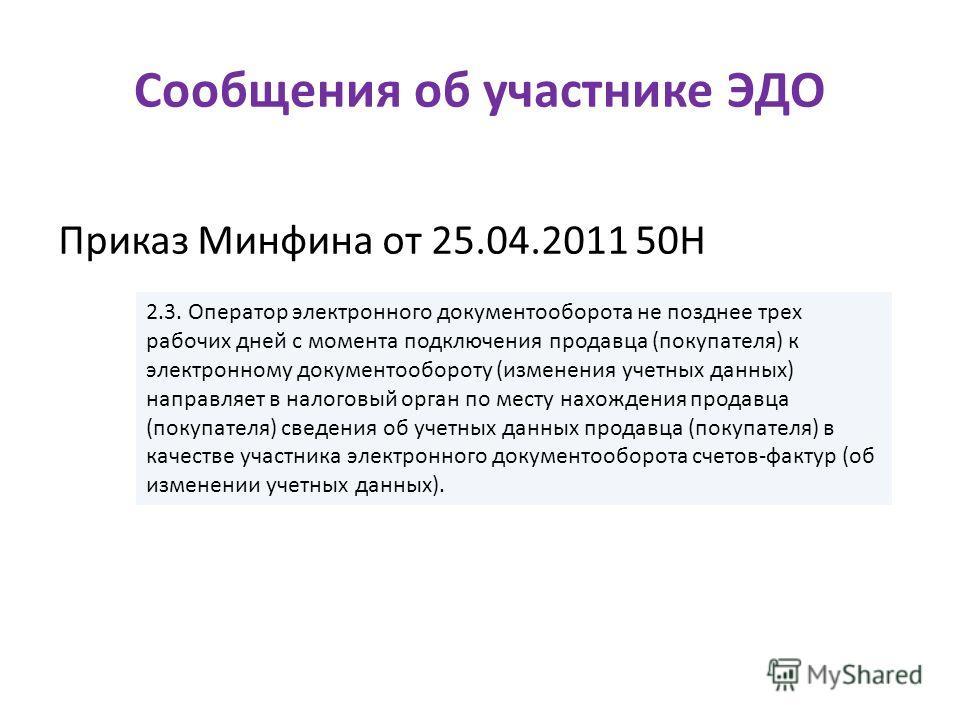 Сообщения об участнике ЭДО Приказ Минфина от 25.04.2011 50Н 2.3. Оператор электронного документооборота не позднее трех рабочих дней с момента подключения продавца (покупателя) к электронному документообороту (изменения учетных данных) направляет в н