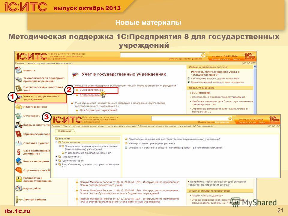 its.1c.ru 21 1 2 3 выпуск октябрь 2013 Методическая поддержка 1С:Предприятия 8 для государственных учреждений Новые материалы