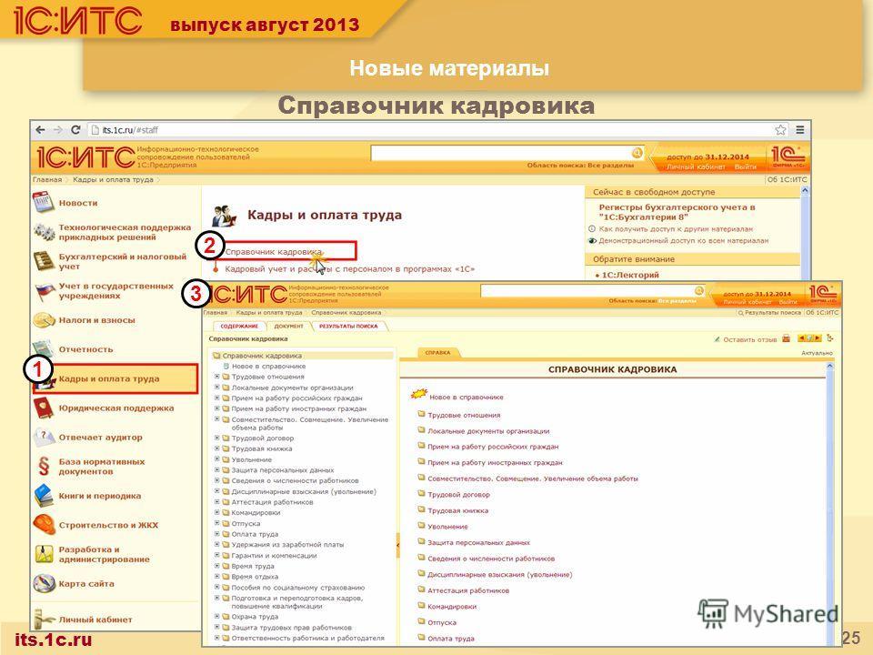 its.1c.ru 25 1 2 3 выпуск август 2013 Справочник кадровика Новые материалы