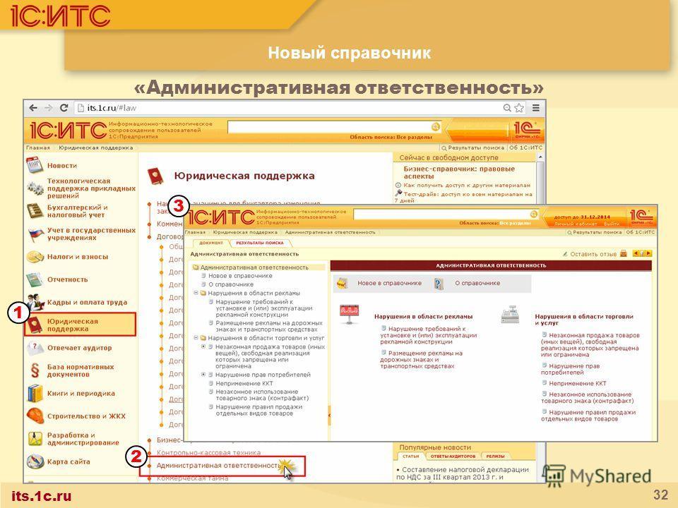 its.1c.ru 32 Новый справочник «Административная ответственность» 1 2 3