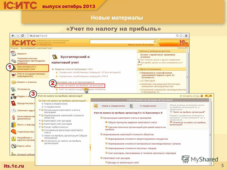 its.1c.ru 5 выпуск октябрь 2013 «Учет по налогу на прибыль» Новые материалы 1 2 3
