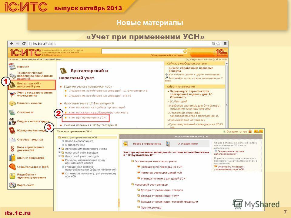 its.1c.ru 7 выпуск октябрь 2013 «Учет при применении УСН» Новые материалы 1 2 3