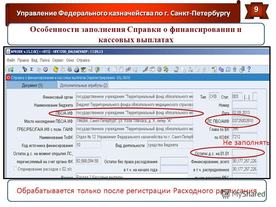 Управление Федерального казначейства по г. Санкт-Петербургу 99 Обрабатывается только после регистрации Расходного расписания Особенности заполнения Справки о финансировании и кассовых выплатах Не заполнять