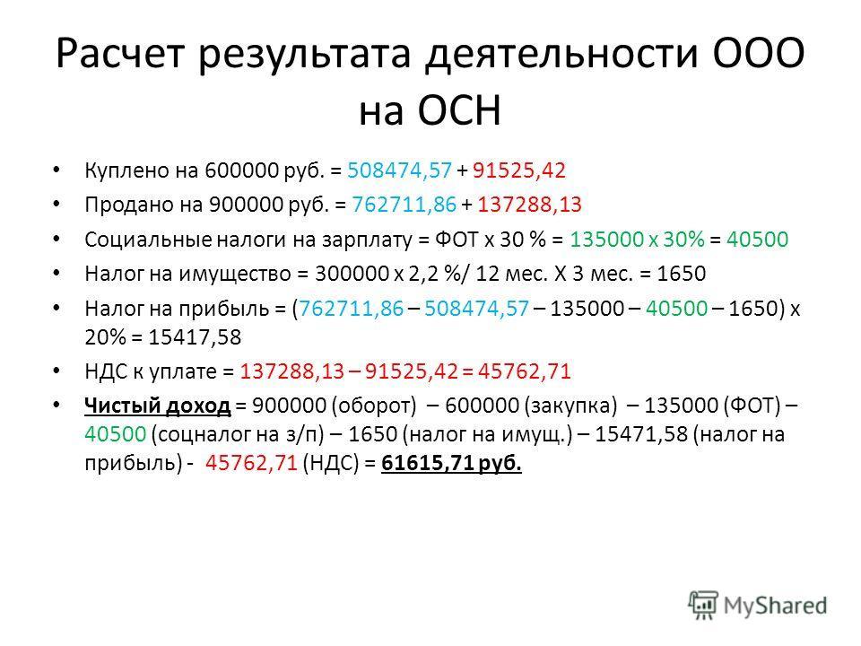 Расчет результата деятельности ООО на ОСН Куплено на 600000 руб. = 508474,57 + 91525,42 Продано на 900000 руб. = 762711,86 + 137288,13 Социальные налоги на зарплату = ФОТ х 30 % = 135000 х 30% = 40500 Налог на имущество = 300000 х 2,2 %/ 12 мес. Х 3