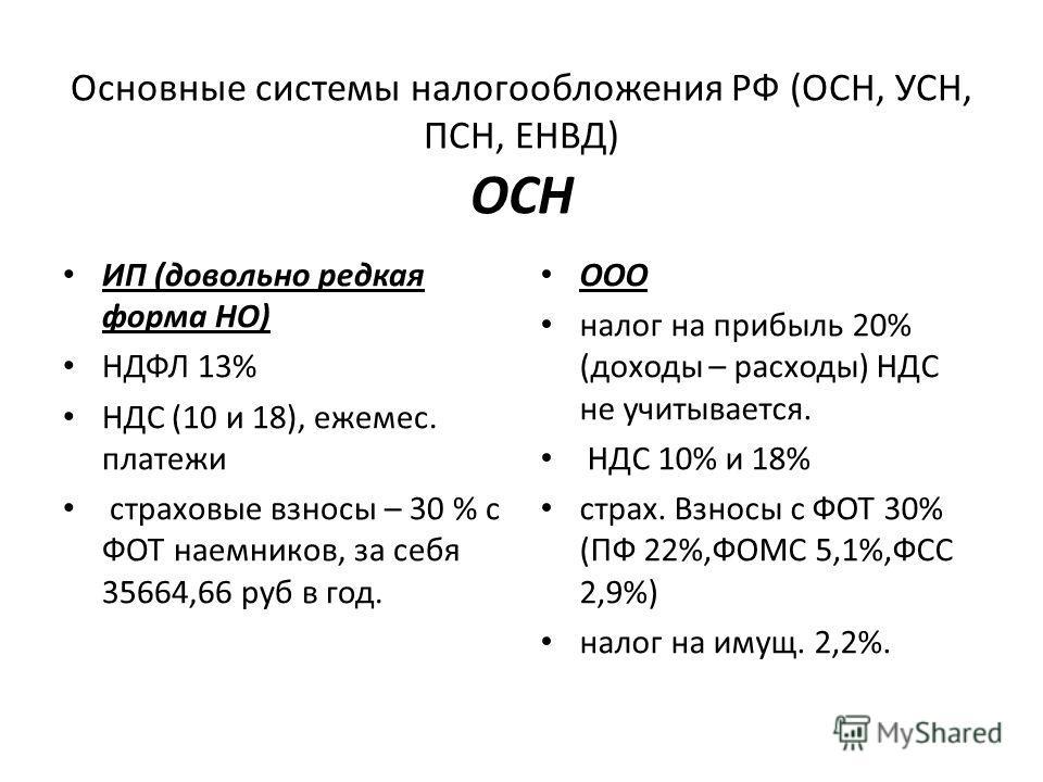 Основные системы налогообложения РФ (ОСН, УСН, ПСН, ЕНВД) ОСН ИП (довольно редкая форма НО) НДФЛ 13% НДС (10 и 18), ежемес. платежи страховые взносы – 30 % с ФОТ наемников, за себя 35664,66 руб в год. ООО налог на прибыль 20% (доходы – расходы) НДС н