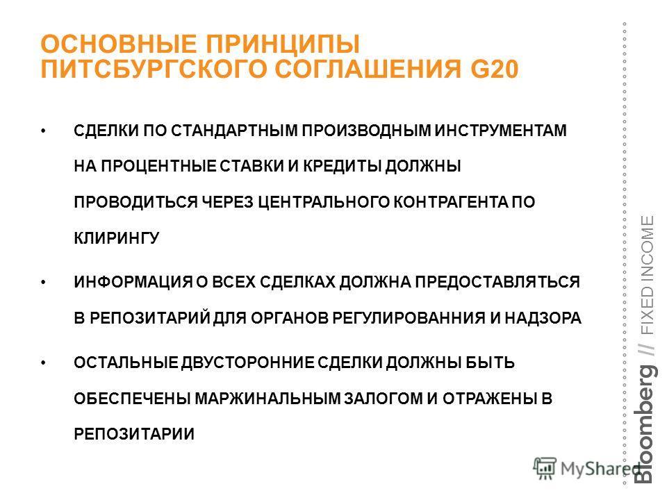 FIXED INCOME // ОСНОВНЫЕ ПРИНЦИПЫ ПИТСБУРГСКОГО СОГЛАШЕНИЯ G20 СДЕЛКИ ПО СТАНДАРТНЫМ ПРОИЗВОДНЫМ ИНСТРУМЕНТАМ НА ПРОЦЕНТНЫЕ СТАВКИ И КРЕДИТЫ ДОЛЖНЫ ПРОВОДИТЬСЯ ЧЕРЕЗ ЦЕНТРАЛЬНОГО КОНТРАГЕНТА ПО КЛИРИНГУ ИНФОРМАЦИЯ О ВСЕХ СДЕЛКАХ ДОЛЖНА ПРЕДОСТАВЛЯТЬС