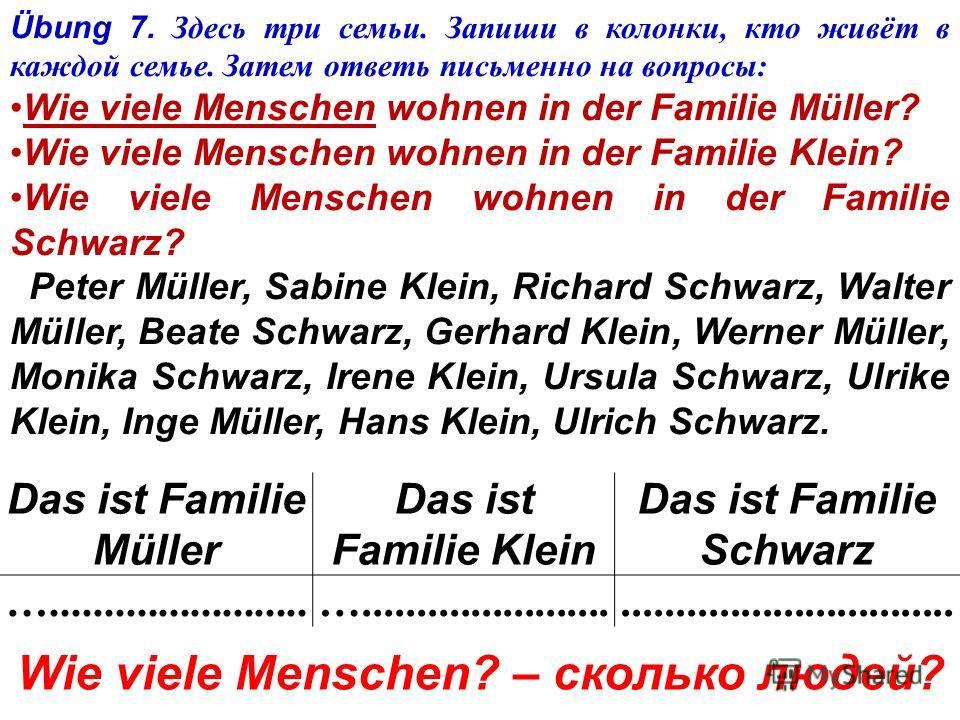 Übung 6. Прочитайте и переведите. Peters Familie Peter Klamm wohnt in Berlin. Peters Familie ist groß. Peter hat eine Mutter und einen Vater, eine Großmutter und einen Großvater. Er hat auch Geschwister: zwei Brüder und eine Schwester. Peters Eltern