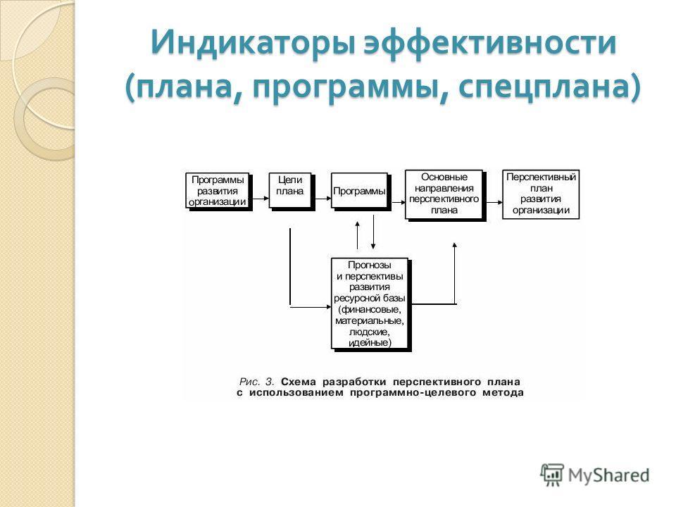 Индикаторы эффективности ( плана, программы, спецплана )