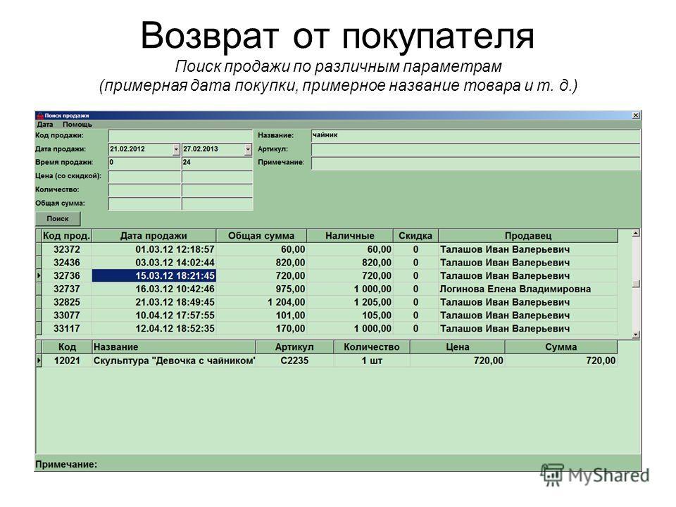 Возврат от покупателя Поиск продажи по различным параметрам (примерная дата покупки, примерное название товара и т. д.)