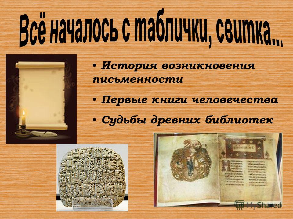 История возникновения письменности Первые книги человечества Судьбы древних библиотек