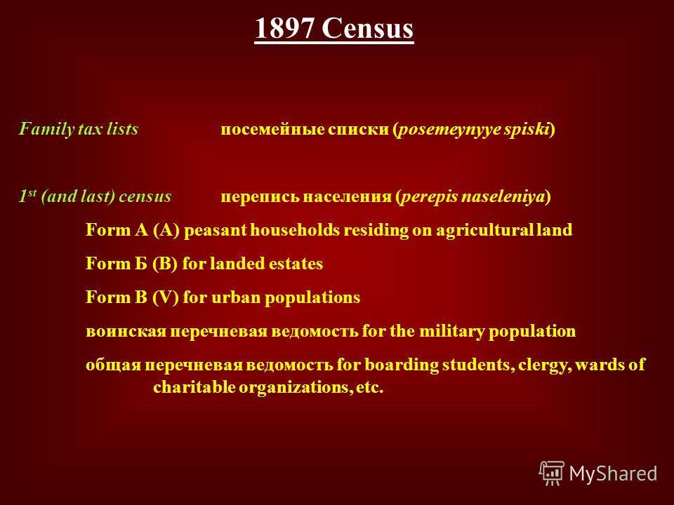 1897 Census Family tax listsпосемейные списки (posemeynyye spiski) 1 st (and last) censusперепись населения (perepis naseleniya) Form А (A) peasant households residing on agricultural land Form Б (B) for landed estates Form В (V) for urban population