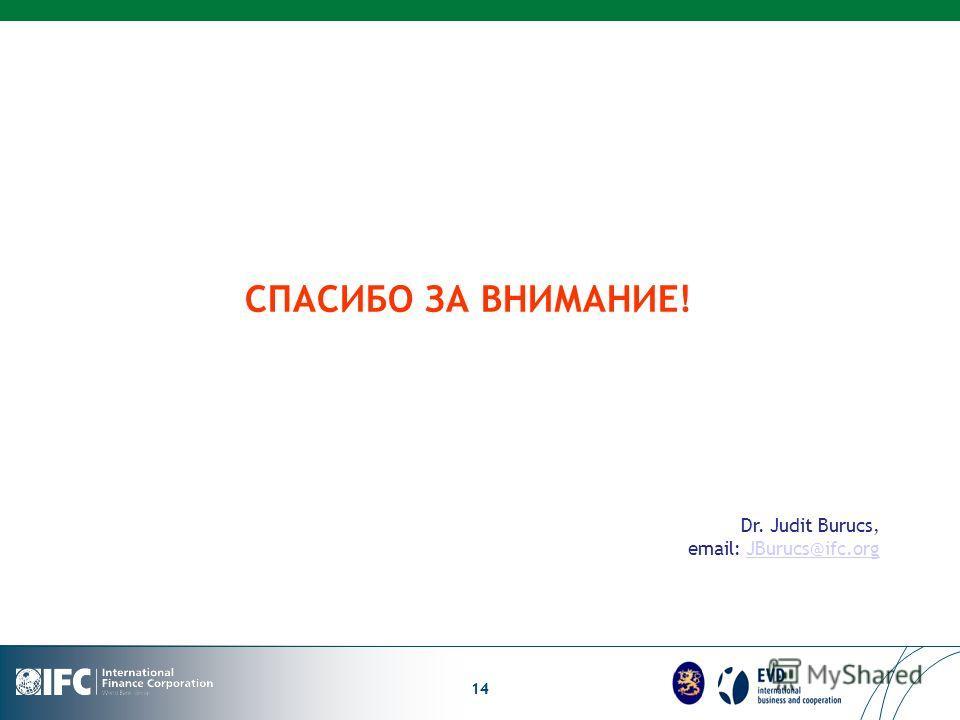 LOGO 14 СПАСИБО ЗА ВНИМАНИЕ! Dr. Judit Burucs, email: JBurucs@ifc.orgJBurucs@ifc.org