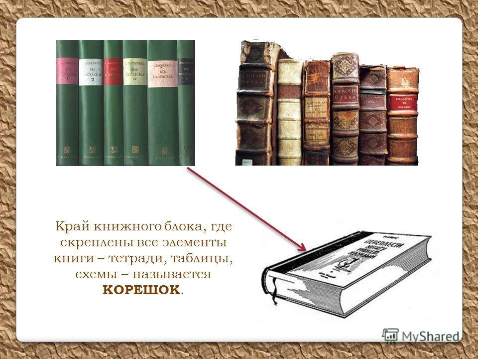 Край книжного блока, где скреплены все элементы книги – тетради, таблицы, схемы – называется КОРЕШОК.