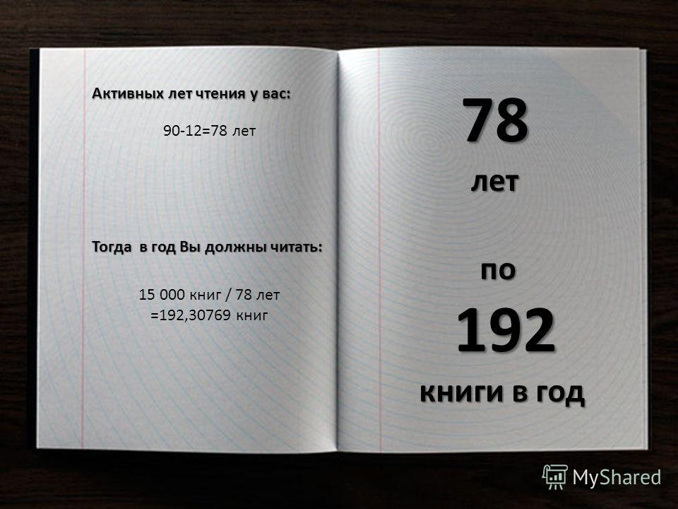 Активных лет чтения у вас: 90-12=78 лет Тогда в год Вы должны читать: 15 000 книг / 78 лет =192,30769 книг 78 лет по 192 книги в год
