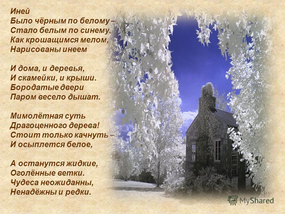 Иней Было чёрным по белому – Стало белым по синему. Как крошащимся мелом, Нарисованы инеем И дома, и деревья, И скамейки, и крыши. Бородатые двери Паром весело дышат. Мимолётная суть Драгоценного дерева! Стоит только качнуть – И осыплется белое, А ос