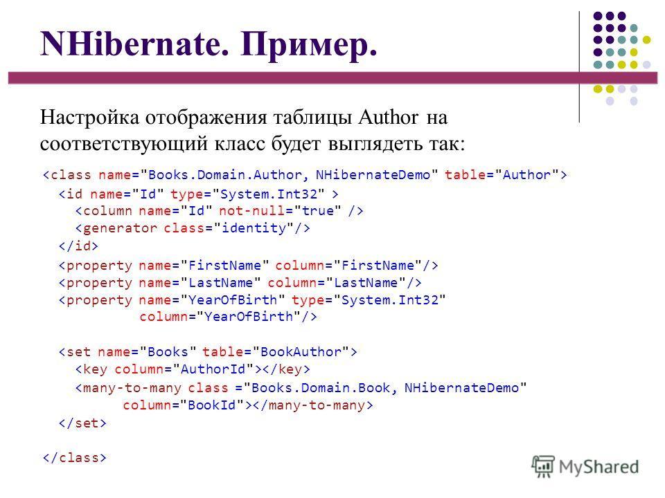 NHibernate. Пример. Настройка отображения таблицы Author на соответствующий класс будет выглядеть так: