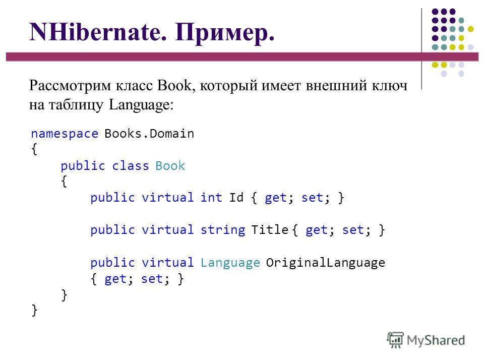 NHibernate. Пример. Рассмотрим класс Book, который имеет внешний ключ на таблицу Language: namespace Books.Domain { public class Book { public virtual int Id { get; set; } public virtual string Title { get; set; } public virtual Language OriginalLang