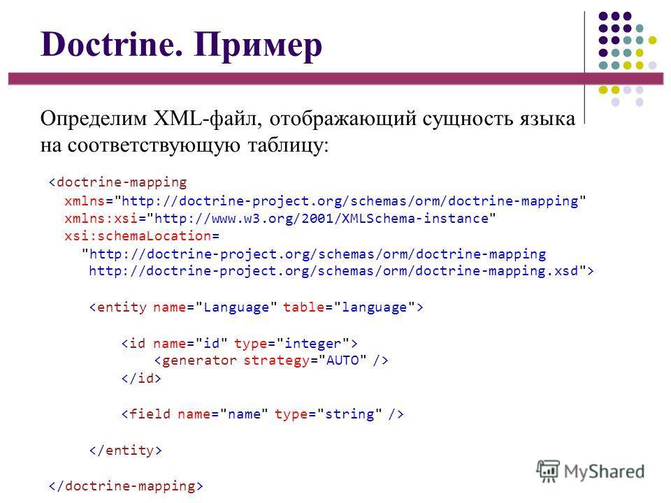 Doctrine. Пример Определим XML-файл, отображающий сущность языка на соответствующую таблицу:
